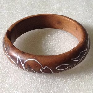 Vintage wood with silver bangle